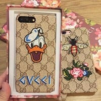GUCCI Embroidered Donald Duck iPhone Phone Cover Case For iphone 6 6s 6plus 6s-plus 7 7plus