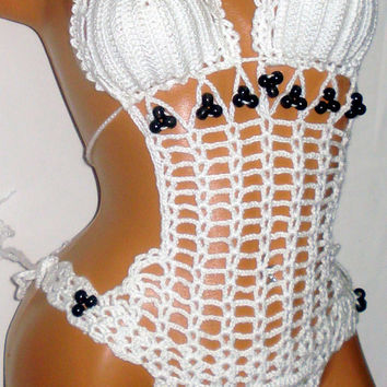 White Crochet Monikini One Ring Crochet Bathing Suit Sexy Swimsuit Crochet Women Fashion Lace Monokini Beaded Monokini Swimwear Beach Bikini