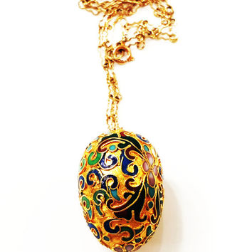 Vintage Chinese Gold Egg Necklace, Champleve Enamel, (Cloisonne), Intricate Chain, Gold