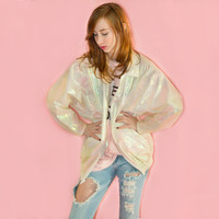 Vintage 80s Iridescent Bomber Jacket Holographic Windbreaker Oversized White Opalescent White Glam S M L XL Batwing
