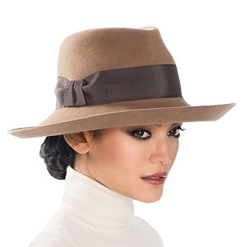 Eric Javits Women's Hat Luxury Headwear Tiffany Fedora in Camel