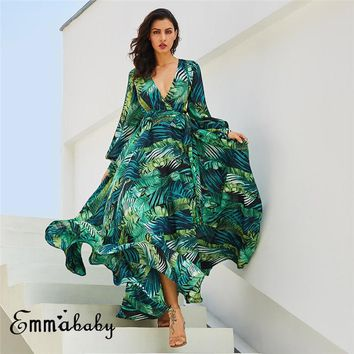Womens Long Sleeve Casual Loose Dress Deep V Neck Summer Floral Printed Maxi Loose Belt Lace Up Dress Party Dress