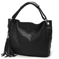 Tassel Chain Faux Leather Tote Handbag