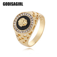 2017 New Arrival mens ring fashion Medusa Head Gold Color male Finger ring for men Size 7-12