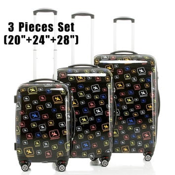 "XQ05 Hardside Trolley Rolling Luggage Suitcase Air-craft Printing 3 Pieces Set (20""+24""+28"")  Luggage Sets Women Men Luggage"