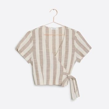Striped Cropped Wrap Top