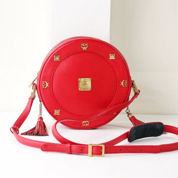 MCM Bag Tambourine Red Leather shoulder handbag authentic vintage