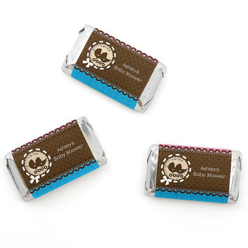 Twin Baby Carriages 1 Boy & 1 Girl - Personalized Baby Shower Mini Candy Bar Wrapper Favors - 20 ct