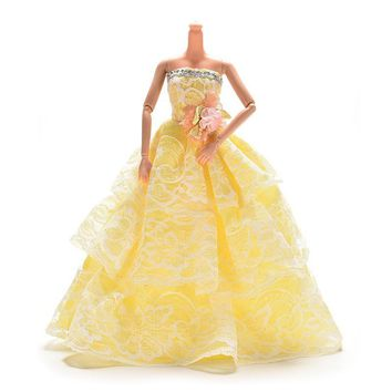 1PCS Doll Dress Clothes Clothing  Elegant Lace Multi Layers Wedding Dress For Barbie Doll Luxury Floral Dolls Accessories