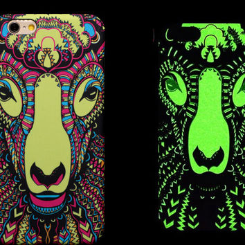 So Cool Night King Sheept Animal Handmade Carving Luminous Light Up iPhone creative cases for 5S 6 6S Plus Free Shipping