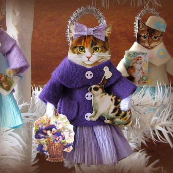 Vintage Style Easter Ornament Tabby Cat with Sweet Bunny and Basket of Pansies Whimsical Handmade Folk Art by HolidayCat E2
