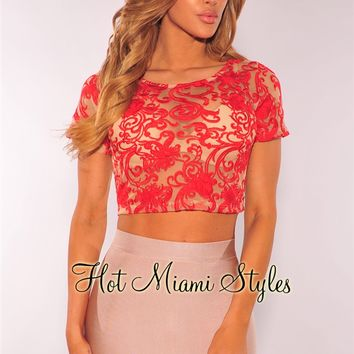 Red Mesh Embroidered Crop Top