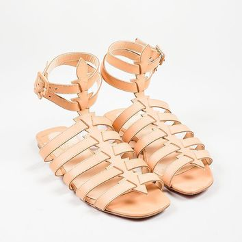 DCCK2 Nude Christian Louboutin Leather Gladiator   Neronna   Flat Sandals