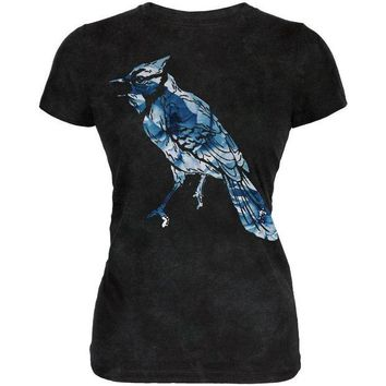 LMFCY8 Spring Flowers Blue Jay Bird Juniors Soft T Shirt