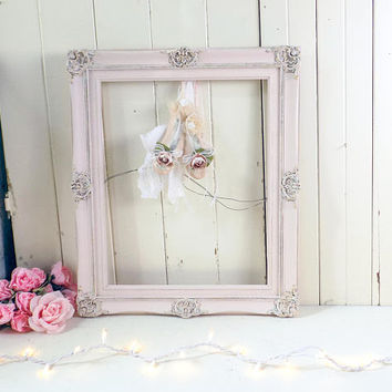 Pink Ornate Vintage Frame, Pink Nursery Frame, Shabby Chic Rustic Pink Frame, Pink and Gold Rustic Wedding Frame, Baby Shower Frame, Gift