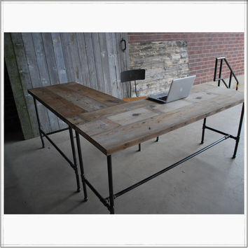 L Shaped Reclaimed Wood Desk | Modern Office Furniture |Urban Wood