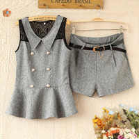 A 082917 Stitching Lace Shorts Piece Fitted Sleeveless Top