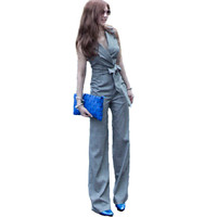 New spring fashion autumn women Aristocratic temperament show thin Jumpsuits Rompers wide leg rompers  jumpsuit bodysuit