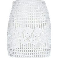 River Island Womens White grid lace A-line skirt