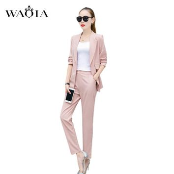 2 Piece Set Women Clothing 2017 Formal Office Wear Blazer Jacket Tops And Ankle Length Pants Women Suits Two Piece Set Plus size