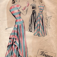 Vintage 1940s Vogue 355 Sewing Pattern Elegant Evening Ball Gown Formal Party Dress Cascade Drape Overskirt Drop Waist Fitted Bodice Bust 32