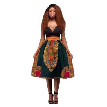 Summer Fashion Women Dress Dashiki Hippie High Waist Skater