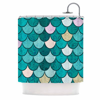 "Famenxt ""Mermaid Fish Scales"" Teal Nautical Illustration Shower Curtain"