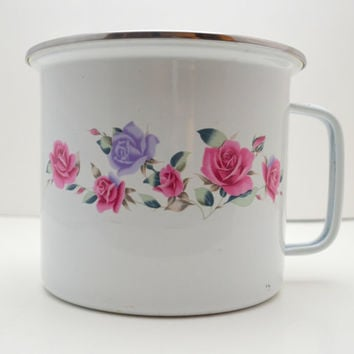 Vintage GMI Enamelware Canister or Utensil Storage, Purple and Pink Roses, Chippy Paint, Shabby Chic