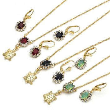 Gold Layered Earring and Pendant Adult Set, Turtle Design, with Crystal, Golden Tone