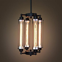 Tube Big Cage Edison Bulb Chandelier 4 lights Lobby Hanging Mid Century pendant light