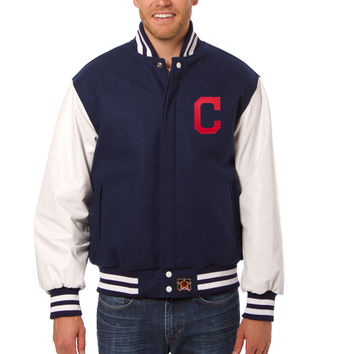 Cleveland Indians Wool And Leather Varsity Jacket