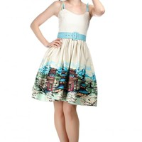 COLLECTIF VINTAGE JADE SCENIC MOUNTAIN BORDER SWING DRESS
