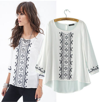 Women's Fashion Three-quarter Sleeve Embroidery Cotton Shirt [5013296196]