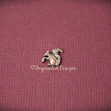 Squirrel Floating Charm / Fall Locket Charm / Autumn Charm