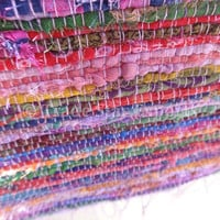 Purple Color theme Hand loomed Rag Rug, Yoga Mat, Meditation Mat, Reversible Throw, Made from Old Saris, Decorative Rug