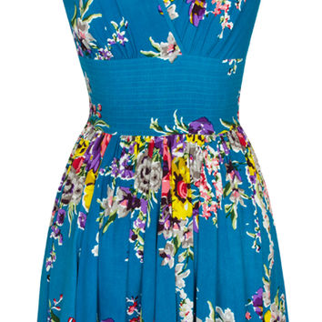Trashy Diva Doris Middy Dress | Vintage Inspired Dress | Turquoise Floral