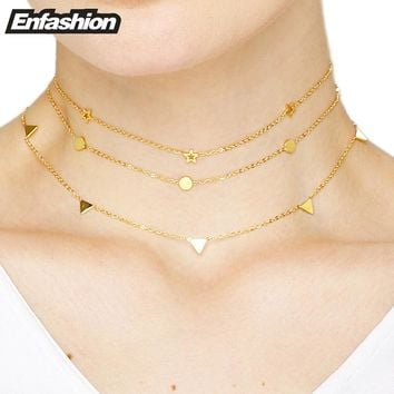 Enfashion Geometric Triangle Circle Star Choker Necklace Gold color Necklaces Pendants Stainless Steel Necklace Women chocker