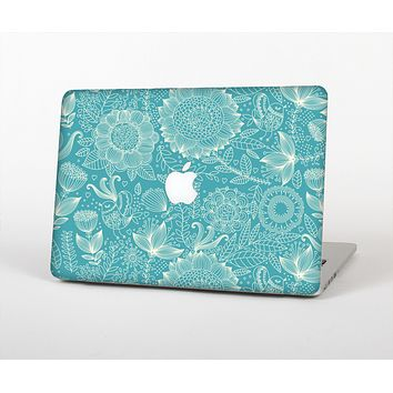The Intricate Teal Floral Pattern Skin Set for the Apple MacBook Air 13""