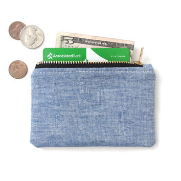 Chambray Wallet Coin Purse Zipper Pouch Blue