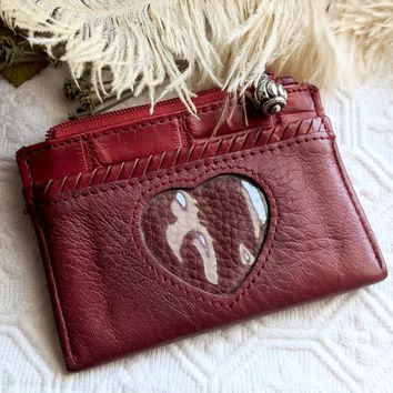 Authentic Vintage Brighton Red Leather Signature Coin Purse