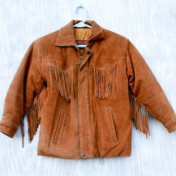 Western Style Fringed Suede Leather Jacket - Warm Brown Aged Vintage Suede - 1970s Women's Size Small 4/6 - Quilted Lining