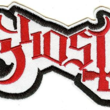 Ghost Iron-On Patch Red Letters On White Logo