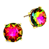 "dark vitrail post earrings at Joji Boutique: 1/2"" crystal with dark vitrail (dark aurora borealis) coloration. Antiqued gold setting. Offset post. #jewelry #joji #fashion #gifts"