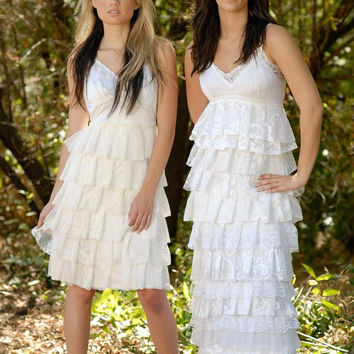 DEPOSIT Bella White, Ivory, peach or Cream Ruffle Wedding Dress -- made to order for the Bohemian Bride