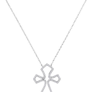 10kt White Gold Womens Round Diamond Flared Cross Pendant Necklace 1/4 Cttw