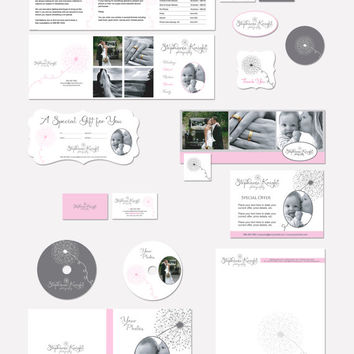 Photography marketing set and business forms dandelion grey, pink and white - all editable psd files