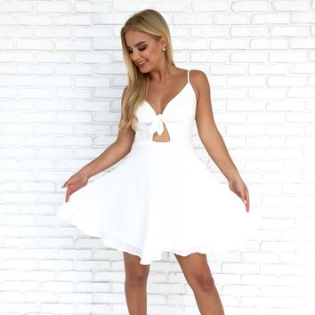 Tie The Knot Skater Dress in White