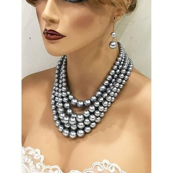 Silver Multi Layer Pearls Bridal Jewelry Set