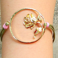 flower  buckle Adjustable  hipster jewelry leather bracelet with wooden bead and hollowed tube  Wristband Mens Womens Z006