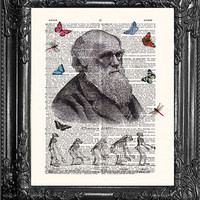 Charles Darwin Evolution-Dictionary Print Book Print Page Art-Upcycled Antique Book Page-Print On Dictionary Book Page-Upcycled Book Page